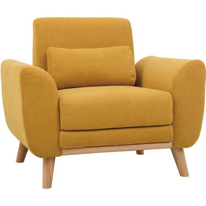 Miliboo - Fauteuil design effet velours jaune moutarde et bois clair EKTOR