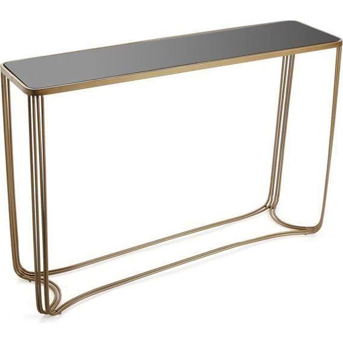 Console dorée avec plateau en verre trempé - L 110 x l 31 x H 75 cm