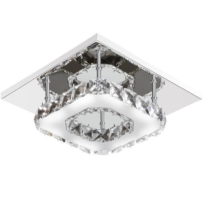 Plafonnier Lampe Cristal Acier Inoxydable LED Miroir 12W Lampe de Plafond Lustre moderne en cristal pour salon chambre à coucher, co