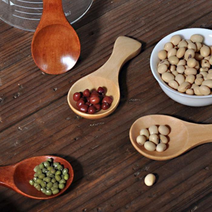 Mini cuillère en bois à la main compacte à poignée courte à sucre à crème glacée pour cuisine maison COUVERTS BEBE