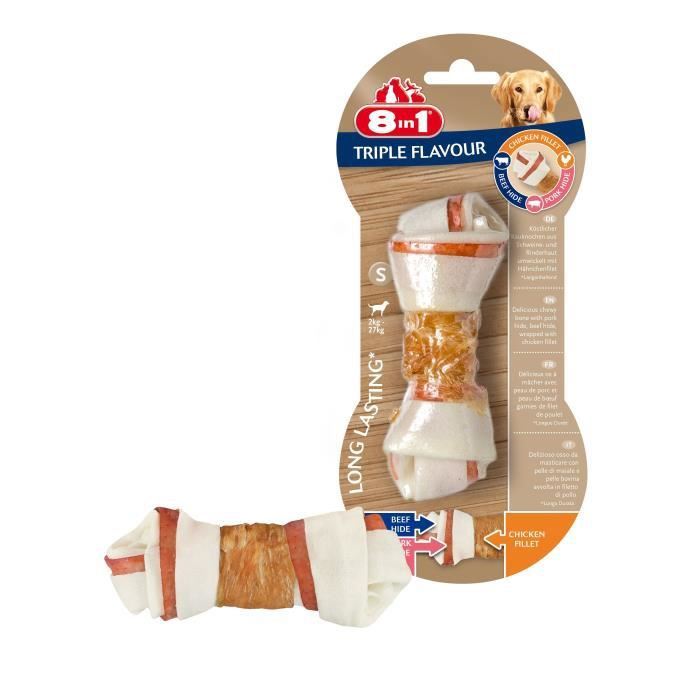 8in1 Triple Flavour Os à mâcher Premium S aux Bœuf, Porc, Poulet - Pour chien de petite taille - 1 pièce
