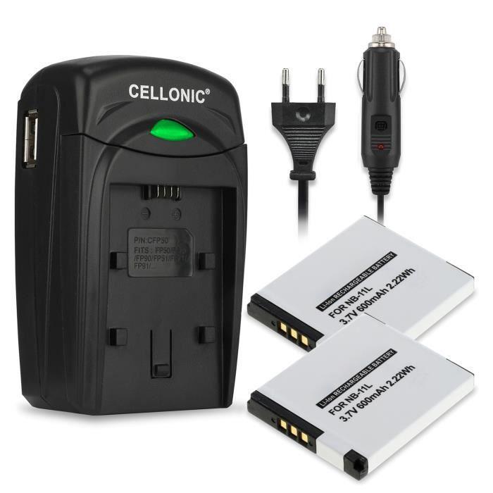 2x Batterie NB-11LH incl. chargeur CB-2L pour Canon IXUS 160 170 275HS, PowerShot SX410IS SX400IS, A2500, ELPH, Digital IXUS, IXY -