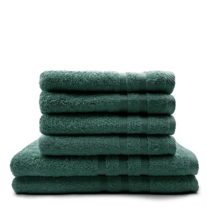 TODAY Lot de 4 Serviettes de bain 50 x 100 cm + 2 Draps de bain 70 x 130 cm Emeraude - 100% coton TODAY