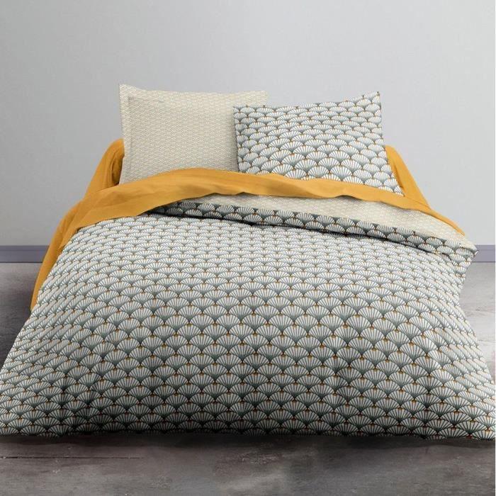 TODAY Parure de lit 2 personnes - 220 x 240 cm - Imprimé gris Graphique CRAZY Calyce