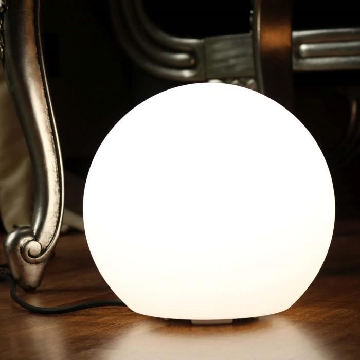25cm Boule Lumineuse Led Blanche Lampe Ronde De Table Chevet