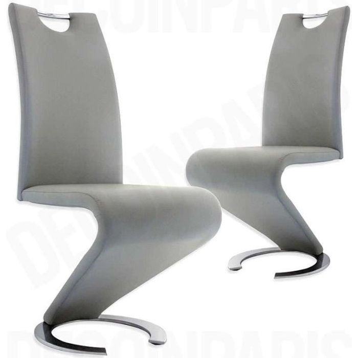 CHAISE LOT DE 2 CHAISES GRIS DESIGN HUGO