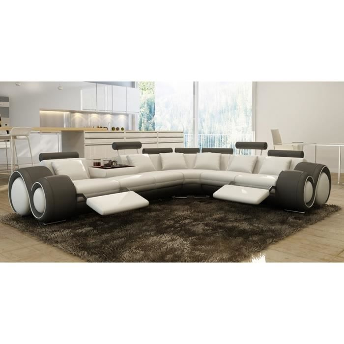canap d 39 angle design cuir blanc et gris relax achat vente canap sofa divan cdiscount. Black Bedroom Furniture Sets. Home Design Ideas