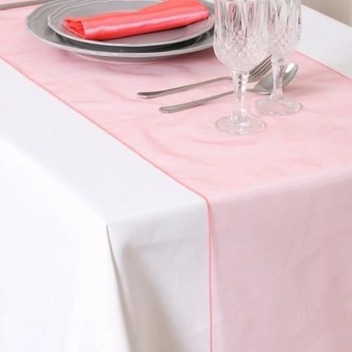 chemin de table mariage organza corail achat vente. Black Bedroom Furniture Sets. Home Design Ideas