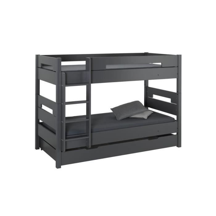 lit superpos 2 matelas tiroir rangement 90x190 achat. Black Bedroom Furniture Sets. Home Design Ideas