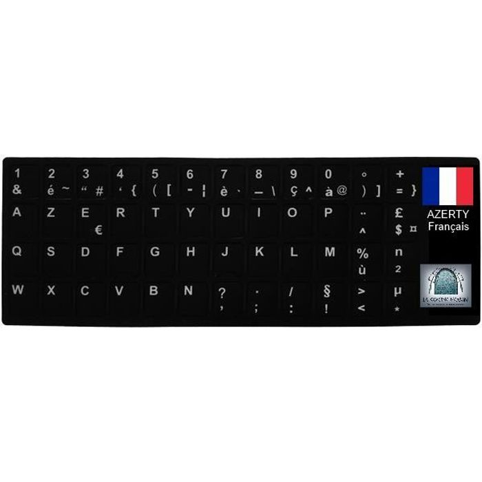 Sticker Autocollant Azerty Noir Pour Touches De Clavier D