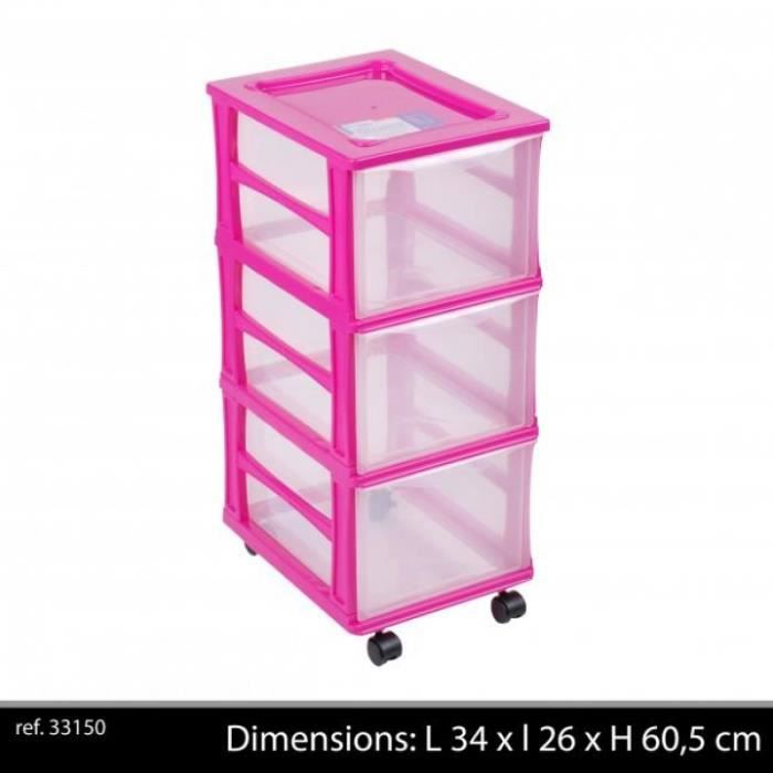box de rangement plastique polypropyl ne rose fushia bloc 3 tiroirs roulett achat vente. Black Bedroom Furniture Sets. Home Design Ideas