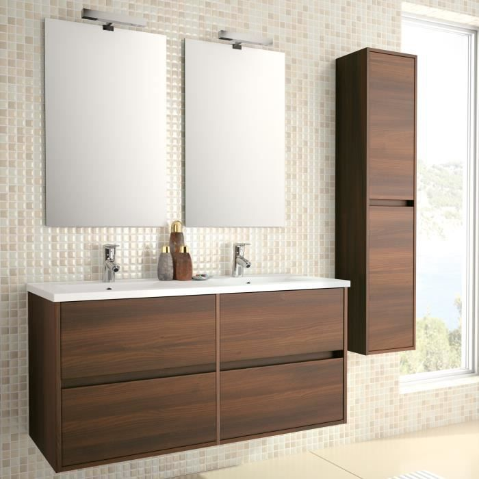 meuble complet salle de bain noja 1200 marron a achat vente salle de bain complete meuble. Black Bedroom Furniture Sets. Home Design Ideas