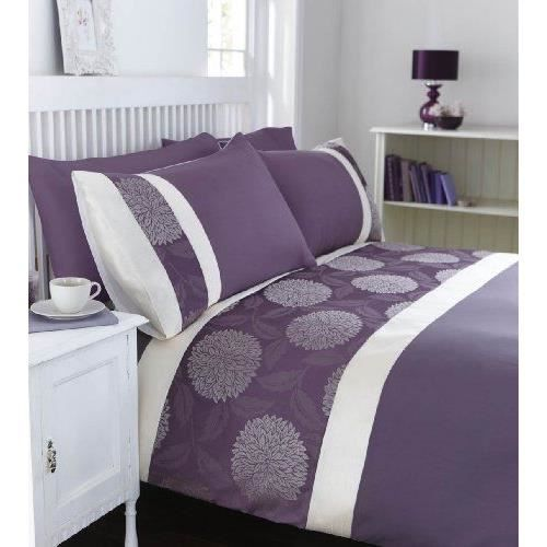 catherine lansfield mei parure de lit violet double achat vente parure de drap cdiscount. Black Bedroom Furniture Sets. Home Design Ideas