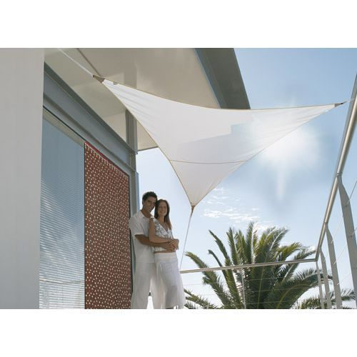 Voile d 39 ombrage triangulaire 5 00m blanc 185g m achat - Toile triangle jardin ...