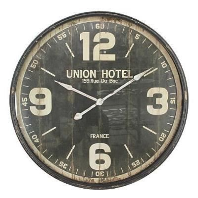 vintage horloge murale m tal noir d90cm achat vente horloge cdiscount. Black Bedroom Furniture Sets. Home Design Ideas