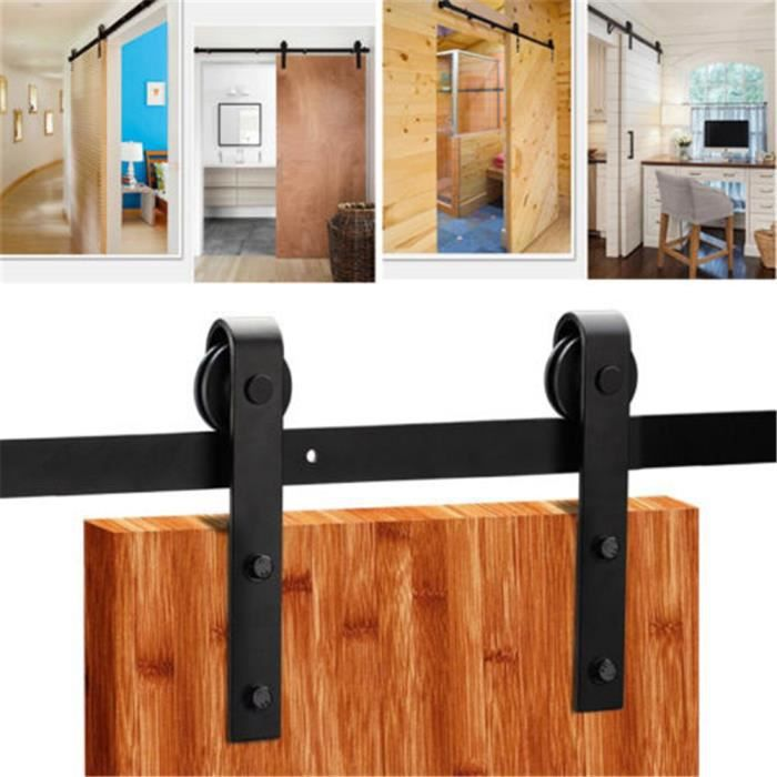 PORTE COULISSANTE 6/6.6FT Porte Coulissante Tringle Rail Acier Inoxy