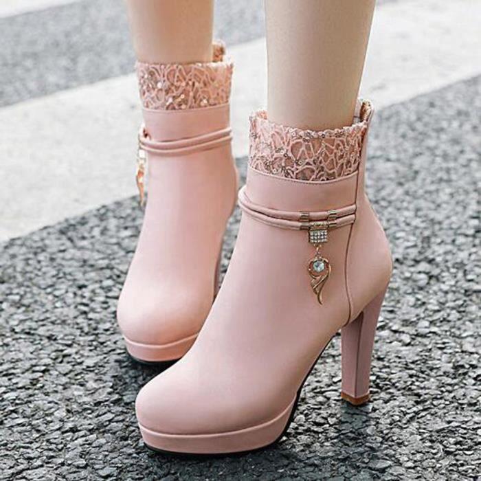 Hiver talon haut en dentelle Bottes de femme avec des ailes en strass Bottes femme Chaussures Rose