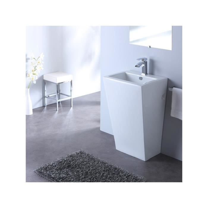 lavabo sur pied carr design achat vente robinetterie sdb lavabo sur pied cdiscount. Black Bedroom Furniture Sets. Home Design Ideas