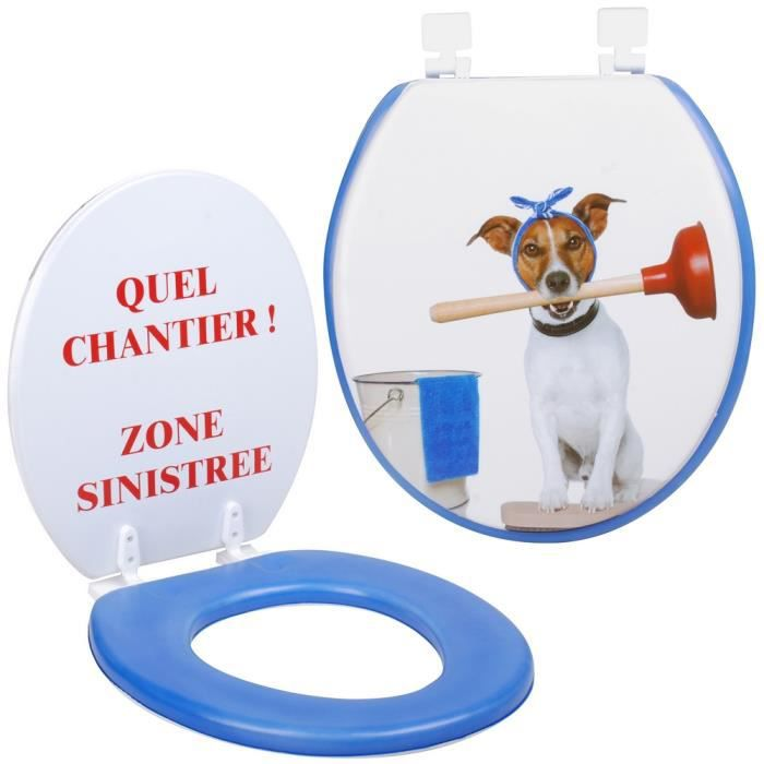 abattant de toilettes design humour fun chantier zone sinistr e chien achat vente abattant. Black Bedroom Furniture Sets. Home Design Ideas