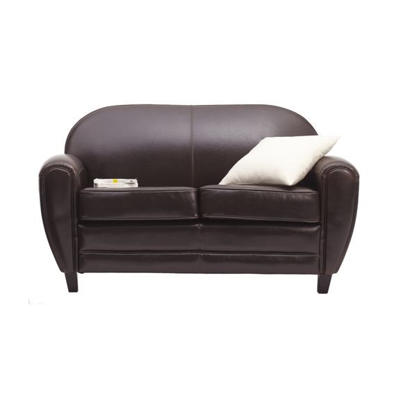 Canap club 2 places cuir marron achat vente canap sofa divan cuir - Canape club cuir 2 places ...