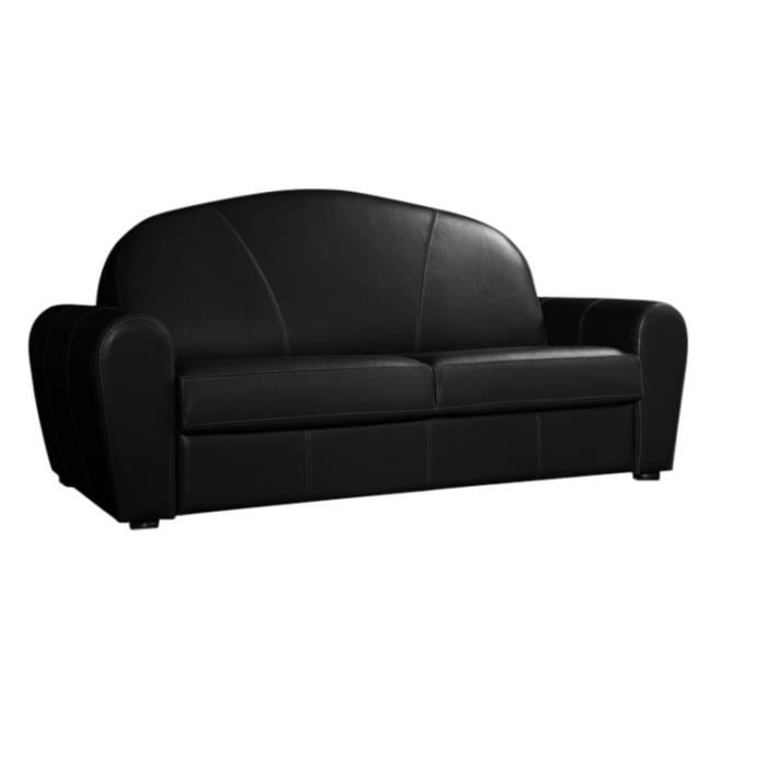 canap convertible 140x190 club cuir recycl noir achat vente canap sofa divan cuir. Black Bedroom Furniture Sets. Home Design Ideas