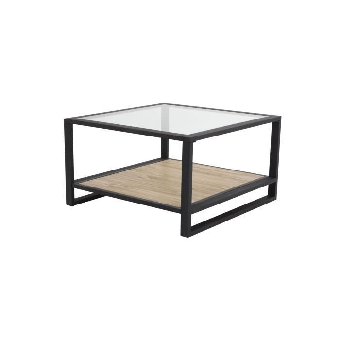 Kenton table basse carr e pin massif plateau verre achat - Table basse carree en verre ...