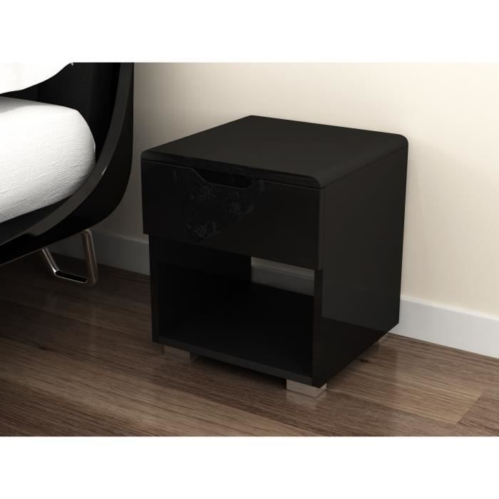 urbano chevet contemporain laqu noir brillant l 35 cm achat vente chevet urbano chevet. Black Bedroom Furniture Sets. Home Design Ideas