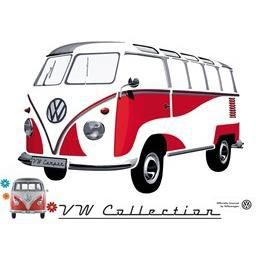 sticker mural combi vw rouge gd mod le achat vente. Black Bedroom Furniture Sets. Home Design Ideas