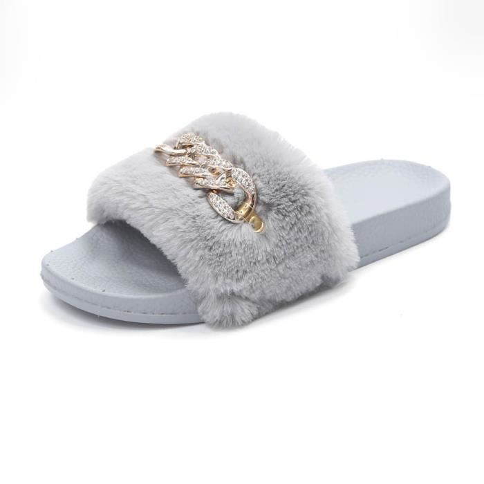 Femmes Dames Slip On Sliders Fluffy Faux Fourrure Flat Slipper Flip Flop Sandale Gris