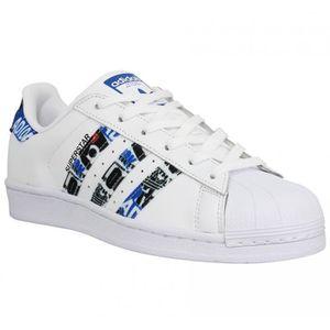 Baskets ADIDAS Superstar cuir Femme-37 1-3-Blanc Bleu ...