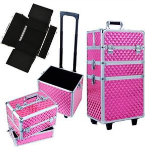 VALISE - BAGAGE Mallette de Maquillage Rose - Valise Trolley Cosmé