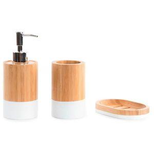 SET ACCESSOIRES Set de 3 - Pièce Salle de bain en bambou
