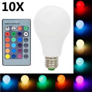 AMPOULE - LED 10X E27 RGB Ampoule 5W RGB LED Haute Illumination