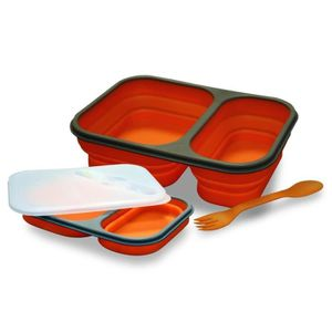 LUNCH BOX - BENTO  Lunch box bento double compartiment silicone rétra