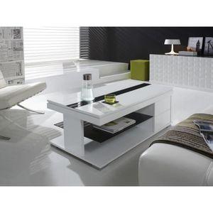 TABLE BASSE Table basse relevable blanc laqué design ELSYE Bla