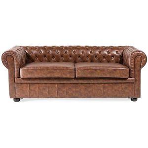 CANAPÉ - SOFA - DIVAN Canapé 2 à 3 places en simili cuir marron vintage