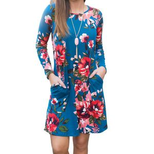 ROBE Femmes Robe dames Impression col rond manches long