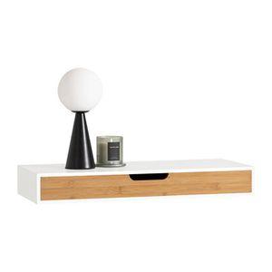 ETAGÈRE MURALE SoBuy® FRG93-WN Étagère murale avec tiroir en bois