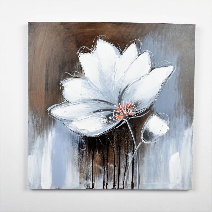 Tableau déco Fleurs 76 - Toile peinte à la main - 60 x 60 x 3 cm