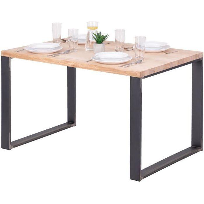 LAMO MANUFAKTUR Table à manger industrielle en bois massif - 120x80x76cm - frêne sévère - pieds acier brut - modèle modern