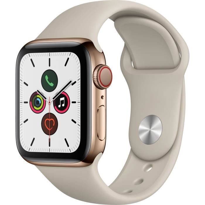Apple Watch Series 5 Cellular 40 mm Boîtier en Acier Inoxydable Or avec Bracelet Sport Stone - S/M