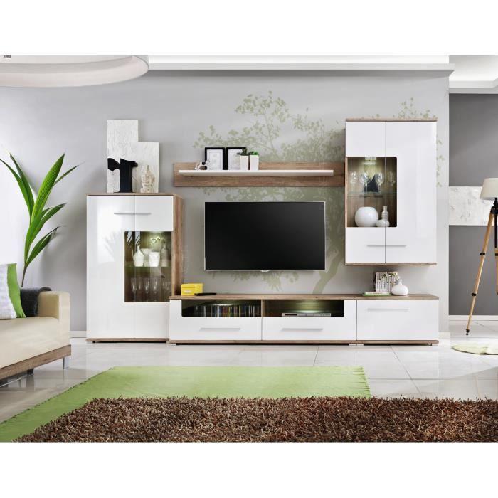 Sohalia grand ensemble laqué 3.1m salon TV LEDS scandinave