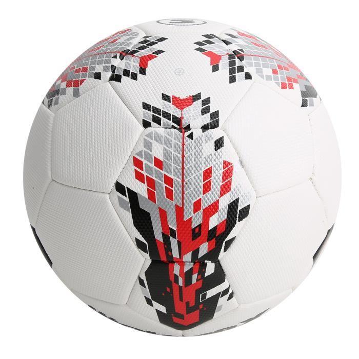 Ballon de Football Taille 5 en PU d'Adulte Équipement de Sport d'Entraînement(Blanc Rouge )-XIU