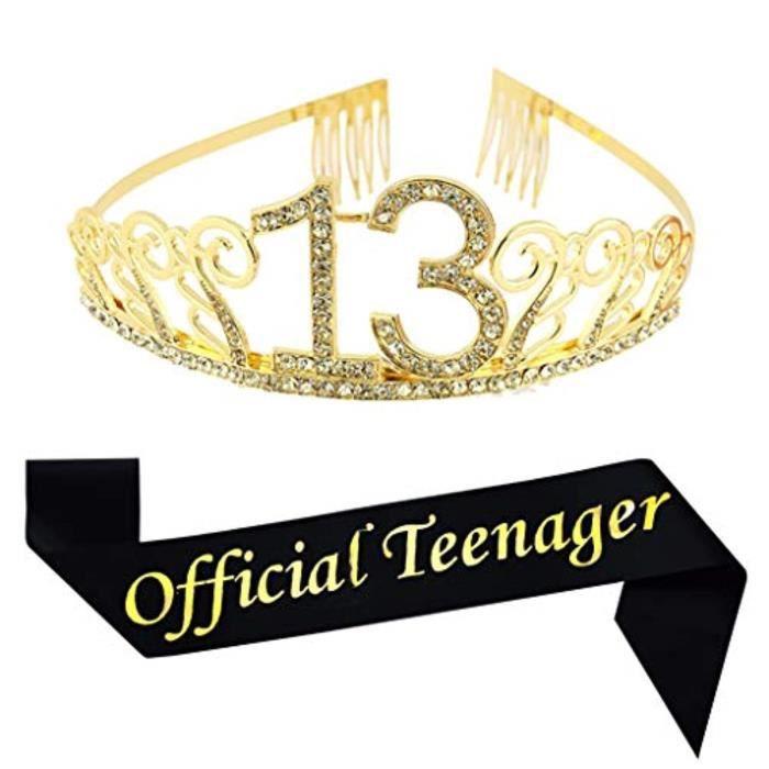 Support A Decorer SORYO 13e anniversaire diadème et ceinture en or, paillettes satinofficial ceinture d'adolescent et couronne d'ann