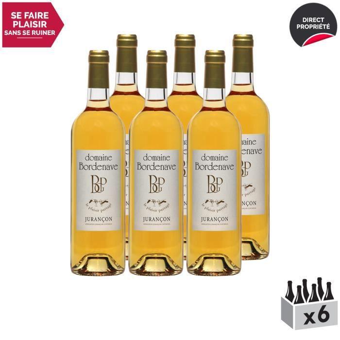 Jurançon Moelleux Le Plaisir Partagé Gros Manseng Blanc 2018 - Lot de 6x75cl - Domaine Bordenave - Vin Doux AOC Blanc du Sud-Ouest