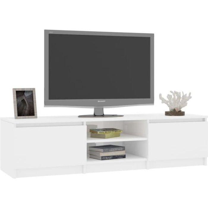 FHE Meuble TV, Blanc brillant 140 cm Aggloméré☼1
