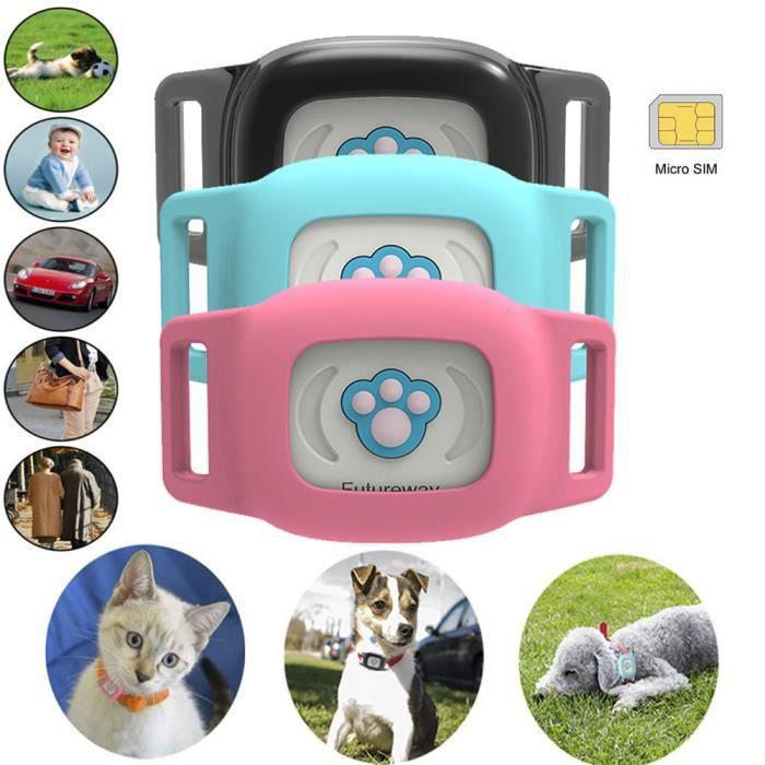 Pet GPS Locator-Anti-perdu Mini moniteur intelligent chat et chien suivi en temps réel- Bleu