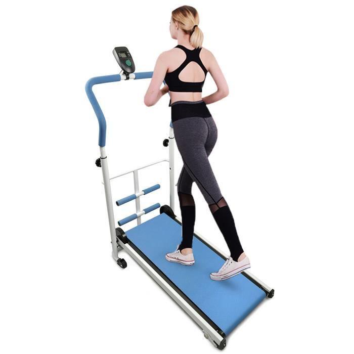 Tapis de Course Manual , Tapis de Marche Bleu avec écran LED, Courir, Sit-ups, Pliable 110 * 85 * 43,5cm