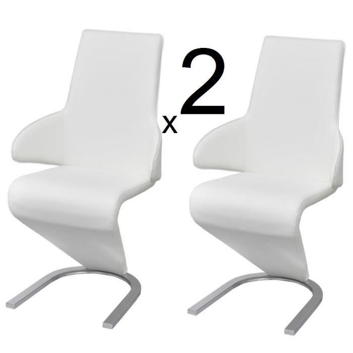 Ensemble 2 chaises en simili cuir de cuisine salon salle à manger Design Blanc