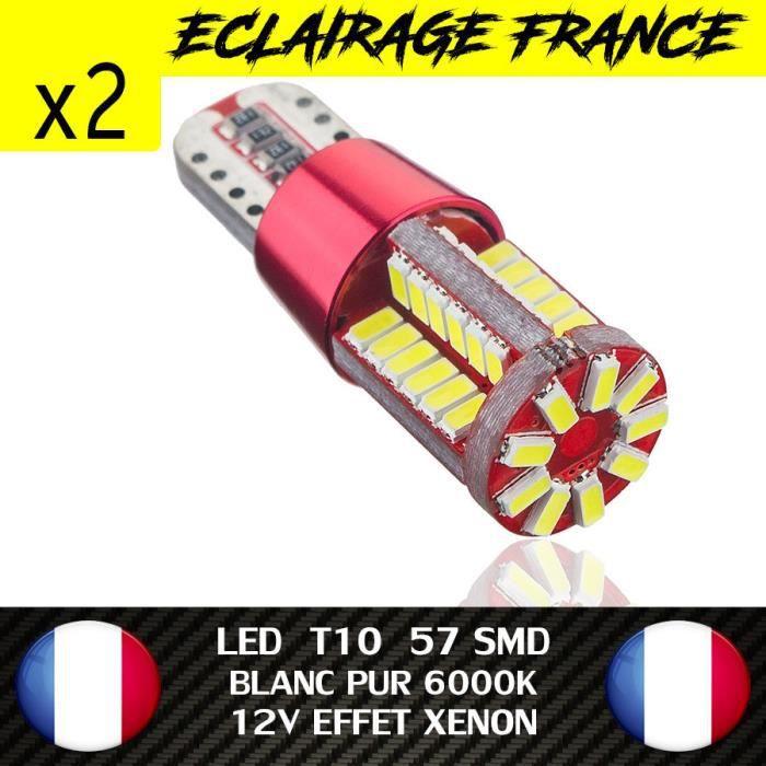 2 VEILLEUSE LED W5W T10 CANBUS ANTI ERREUR ODB BLANC PUR 6000K XENON 57 SMD